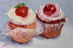 Two Cupcakes II by Lana Okiro -  sized 9x6 inches. Available from Whitewall Galleries
